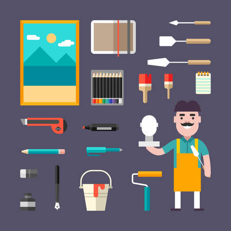 painter palette: Painting Tools and Appliances. Male Cartoon Character Painter. People Profession and Hobbie. Set of Vector Illustrations in Flat Style