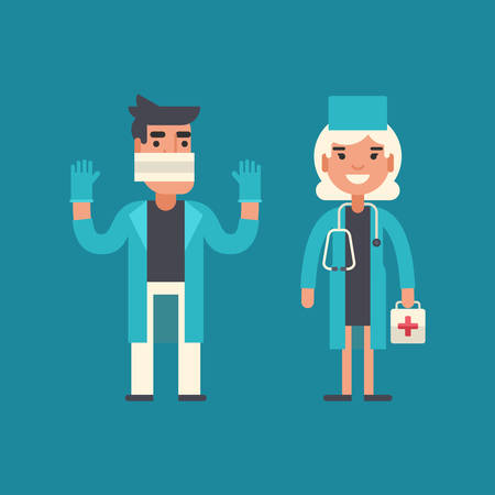 surgeon: Medicine Concept. Doctor, Surgeon, Emergency Physician. Male and Female Cartoon Characters. Flat Design Vector Illustration