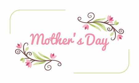 foster: Happy Mothers Day. Greeting Card with Flowers. Vector Illustration