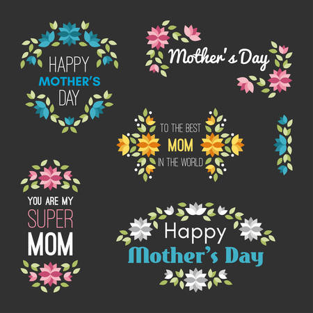 foster: Happy Mothers Day. Set of Vector Design Elements with Flowers. Greeting Card Templates. Vector Illustration