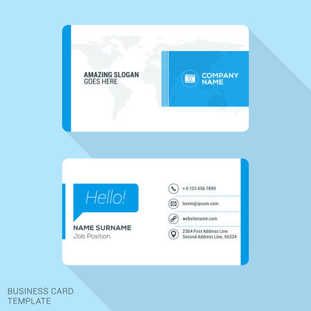 stationery: Modern Creative Business Card Template. Flat Design Vector Illustration. Stationery Design