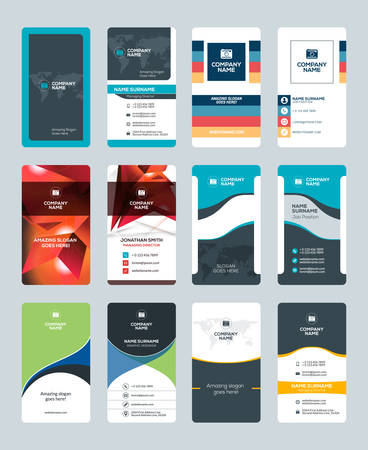 Set of Creative and Clean Vertical Business Card Print Templates. Flat Style Vector Illustration. Stationery Design