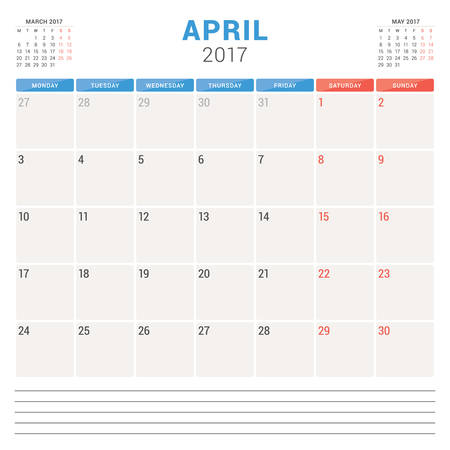 planner: Calendar Planner for 2017 Year. Vector Design Template. April. Week Starts Monday. Stationery Design