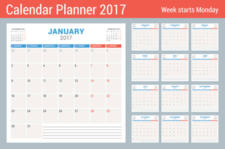 week planner: Calendar Planner for 2017 Year. Vector Design Template. Set of 12 Months. Week Starts Monday. Stationery Design