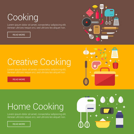 home cooking: Cooking. Creative Cooking. Home Cooking. Flat Design Vector Illustration Concepts for Web Banners and Promotional Materials
