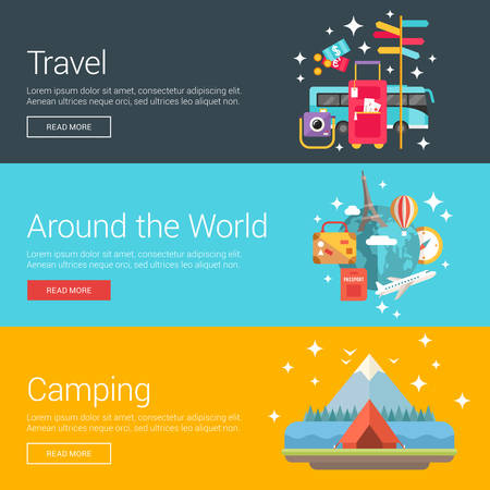 jorney: Travel. Around the World. Camping. Flat Design Vector Illustration Concepts for Web Banners and Promotional Materials Illustration