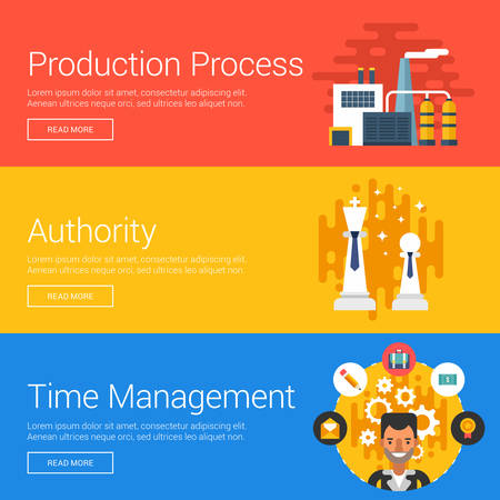 authority: Production Process. Authority. Time Management. Flat Design Vector Illustration Concepts for Web Banners and Promotional Materials Illustration