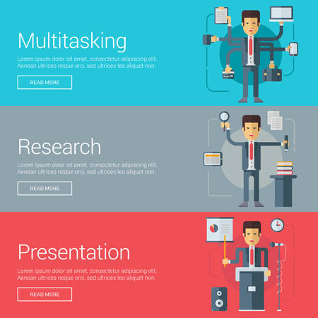 multitasking: Multitasking. Research. Presentation. Flat Design Vector Illustration Concepts for Web Banners and Promotional Materials