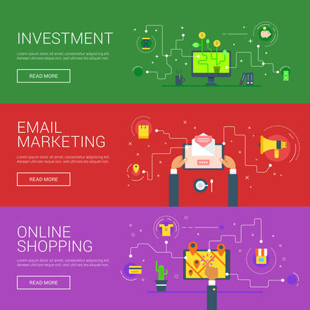 retailing: Investment. Email Marketing. Online Shopping. Flat Design Vector Illustration Concepts for Web Banners and Promotional Materials