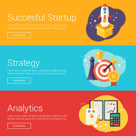Succesful Startup. Strategy. Analytics. Flat Design Vector Illustration Concepts for Web Banners and Promotional Materials