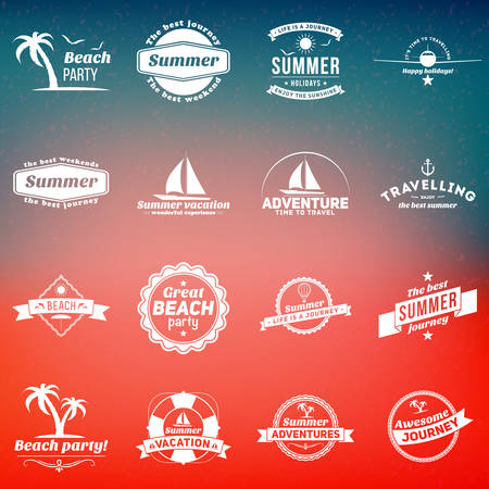 beach party: Set of Summer Holidays Design Elements. Hipster Vintage Label and Badges on Blurred Background. Beach Vacation, Party, Journey