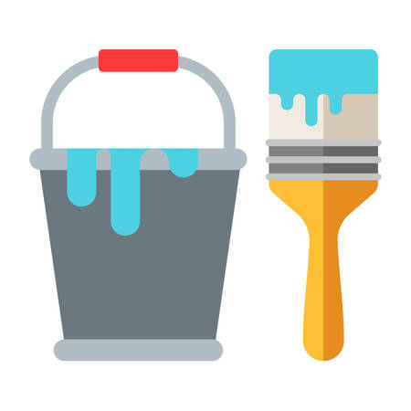 redecorate: Bucket of paint and brush. Flat vector illustration isolated on white. Flat icon. Hand instrument Illustration
