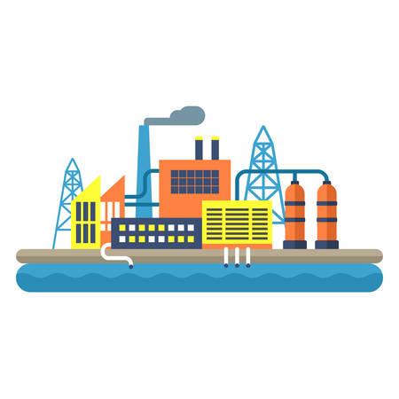 paesaggio industriale: Factory concept illustration. Flat style vector illustration. Industrial landscape Vettoriali