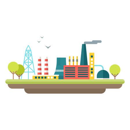 paesaggio industriale: concetto di fabbrica illustrazione. Piatto stile illustrazione vettoriale. paesaggio industriale