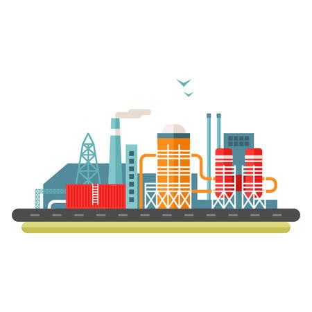 concepto de fábrica ilustración. ilustración vectorial de estilo plano. paisaje industrial