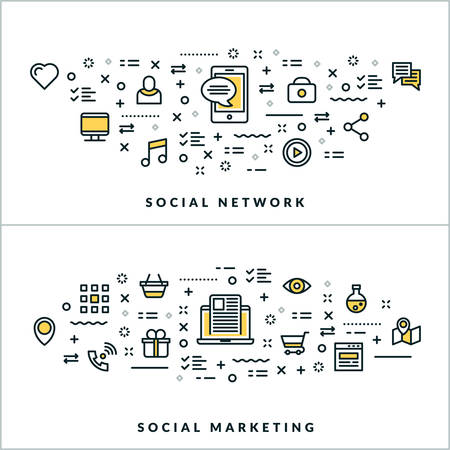 website header: Vector Thin Line Social Network and Social Marketing Concepts. Vector Illustration for Website Banner or Header. Flat Line Icons and Design Elements