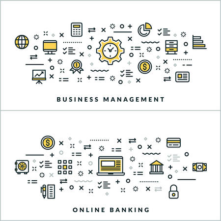 Vector Thin Line Business Management and Online Banking Concepts. Vector Illustration for Website Banner or Header. Flat Line Icons and Design Elements Illustration