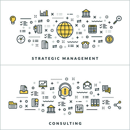 advising: Vector Thin Line Strategic Management and Consulting Concepts. Vector Illustration for Website Banner or Header. Flat Line Icons and Design Elements Illustration