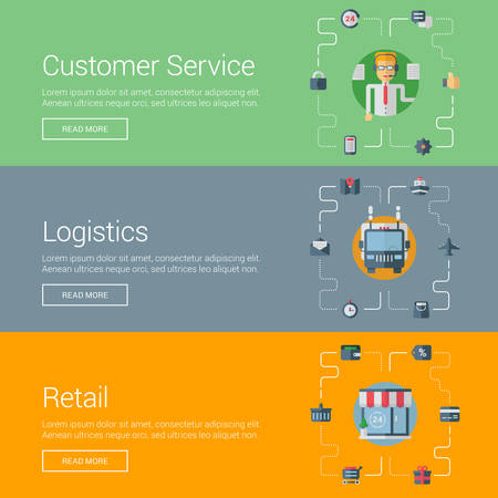 purchasing: Customer Service. Logistics. Retail. Flat Design Vector Illustration Concepts for Web Banners and Promotional Materials Illustration
