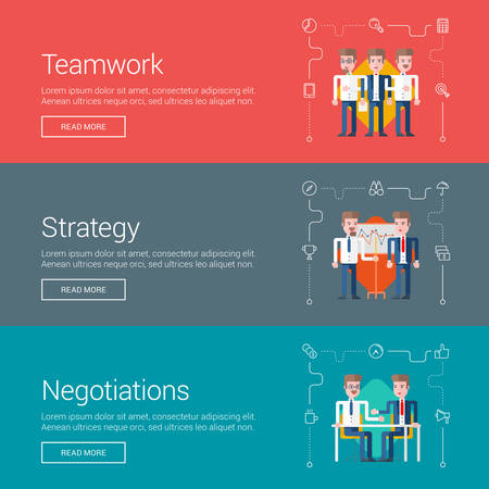 web site: Teamwork. Strategy. Negotiations. Flat Design Vector Illustration Concepts for Web Banners and Promotional Materials
