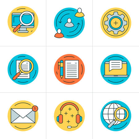 global settings: Thin Line Icon Set. Vector Flat Style Icons for Website, Mobile Application, Infographics. Business Icon Set