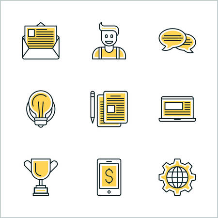 mobile website: Thin Line Icon Set. Vector Icons for Website, Mobile Application, Infographics. Business Icon Set