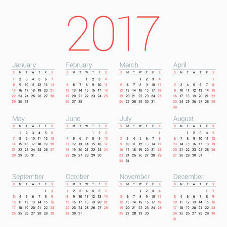 thursday: Calendar for 2017 Year on White Background. Week Starts Sunday. Simple Vector Template. Stationery Design Template Illustration