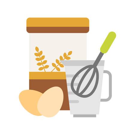 batidora: Harina y huevos para hacer la pasta con batidor en una taza de medir. Ilustración del vector en estilo del diseño Flat