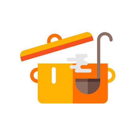 soup pot: Pot of Soup and Ladle. Cooking Concept. Vector Illustration in Flat Design Style
