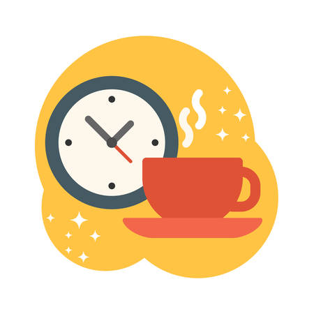 cheerfulness: Coffee break. Coffee cup with watch. Flat style vector illustration
