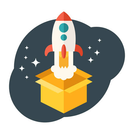 launched: Startup concept. Rocket launched from the box. Flat style vector illustration