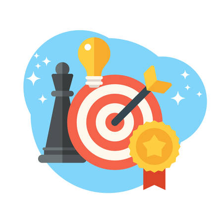Strategy concept. Chess, target and arrow. Creative idea, targeting, achievement. Flat style vector illustration Ilustração