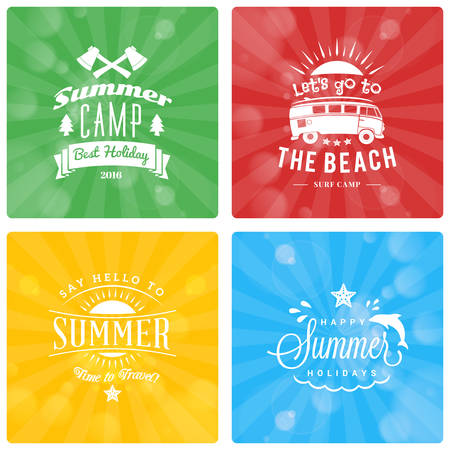 beach party: Set of Summer Holidays Design Elements on Colorful Background. Beach Vacation, Party, Journey, Camping