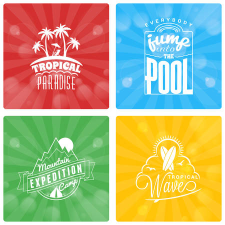 globetrotter: Set of Summer Holidays Design Elements on Colorful Background. Beach Vacation, Party, Journey, Camping