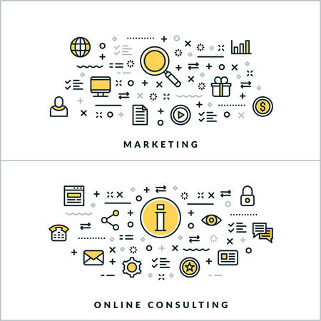 lawer: Vector Thin Line Marketing and Online Consulting Concepts. Vector Illustration for Website Banner or Header. Flat Line Icons and Design Elements