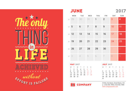 Desk Calendar Template For 2017 Year June Design Template With