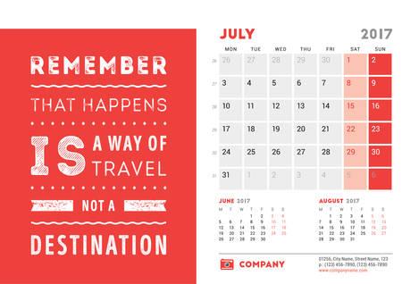 meses del año: Plantilla del escritorio del calendario 2017 Año. Julio. Plantilla de diseño con cita de motivación. 3 Meses En la página. Ilustración del vector