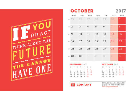 desk calendar: Desk Calendar Template for 2017 Year. October. Design Template with Motivational Quote. 3 Months on Page. Vector Illustration