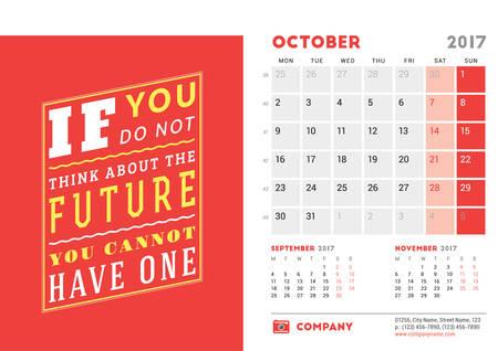 meses del año: Plantilla del escritorio del calendario 2017 Año. Octubre. Plantilla de diseño con cita de motivación. 3 Meses En la página. Ilustración del vector