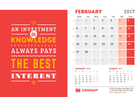 desk calendar: Desk Calendar Template for 2017 Year. February. Design Template with Motivational Quote. 3 Months on Page. Vector Illustration Illustration
