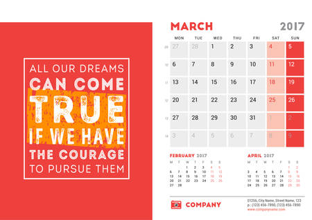 desk calendar: Desk Calendar Template for 2017 Year. March. Design Template with Motivational Quote. 3 Months on Page. Vector Illustration Illustration