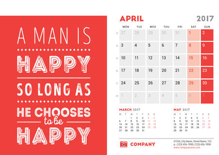 months of the year: Desk Calendar Template for 2017 Year. April. Design Template with Motivational Quote. 3 Months on Page. Vector Illustration