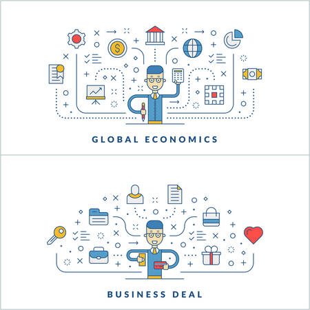 interaction: Global economics. Business deal. Flat line icons and businessman cartoon character. Business concept. Vector thin line illustration for website banner template or header Illustration