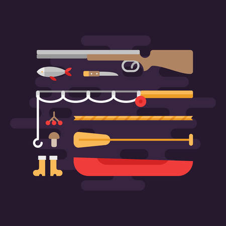 range fruit: Fishing and Hunting. Tourism Concept. Set of Flat Style Vector Elements. Shotgun, Fishing Rod, Boat Illustration