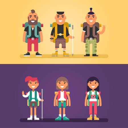 Concepto de excursión. Conjunto de personajes de dibujos animados al estilo plana. Los hombres jóvenes y las mujeres con el morral y se adhieren para ir de excursión