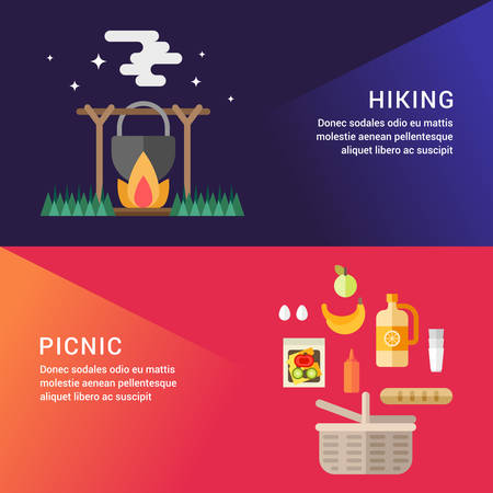 picknic: Hiking and Picknic. Set of Flat Style Vector Illustrations for Web Banners or Promotional Materials. Tourist Pot on Fire. Basket with Food for a Picnic