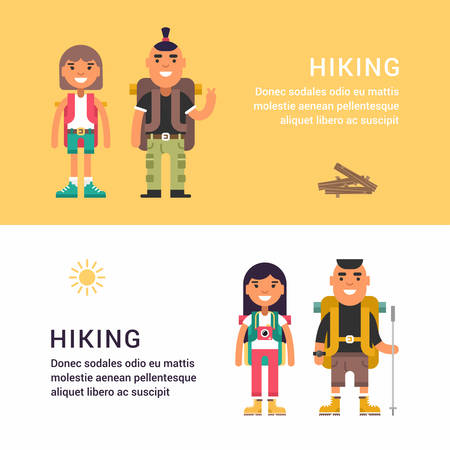 picknic: Hiking and Picknic. Set of Flat Style Vector Illustrations for Web Banners or Promotional Materials. Smiling Young Man and Girl with Backpack and Stick for Hiking Illustration