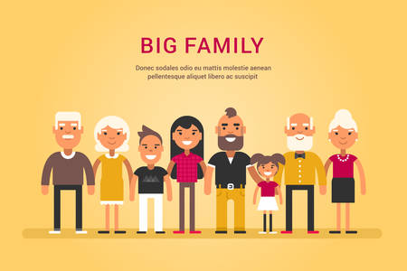 siblings: Big Happy Family. Parents with Children. Father, Mother, Children, Grandfather, Grandmother, Siblings, Wife, Husband, Uncle, Aunt