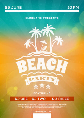 summertime: Beach Party Flyer or Poster. Summer Night Party. Vector Template