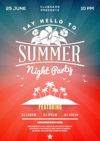 Beach Party Flyer or Poster. Summer Night Party. Vector Template Vector Illustration